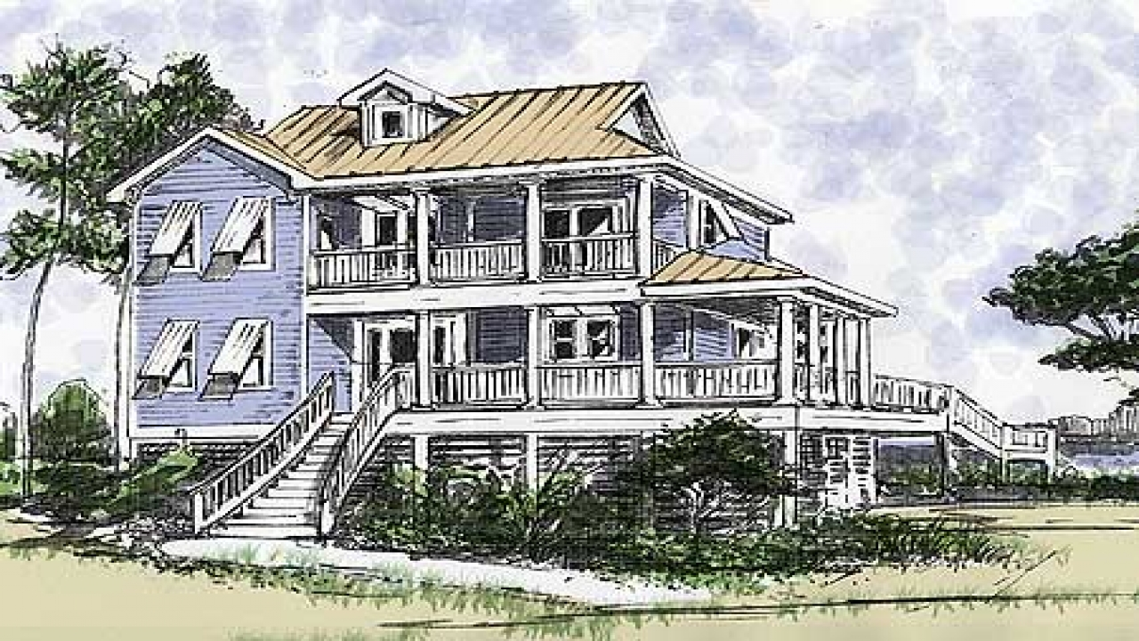 Beach house on pilings plans two stories beach house plans House plans coastal