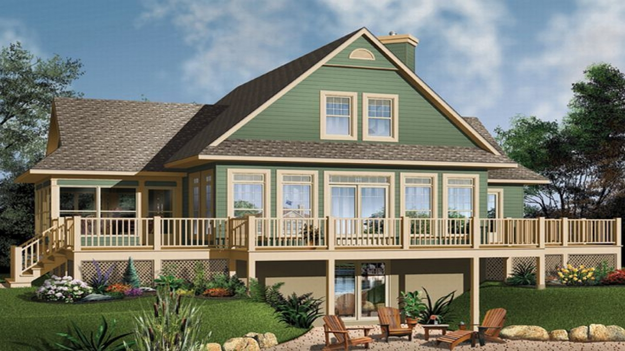 Waterfront house floor plans home plans with open floor for Waterfront house plans