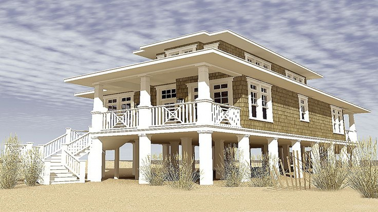 Two story narrow lot house plans narrow lot beach house for Coastal living house plans for narrow lots