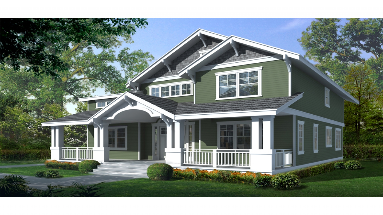 Craftsman bungalow house two story craftsman house plan for Craftsman house plans with front porch