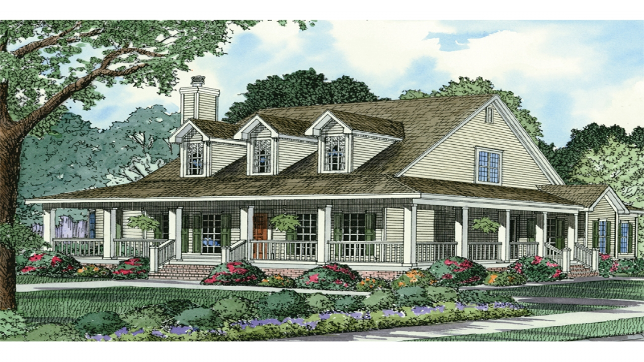 French country house plans country style house plans with for Country house with wrap around porch