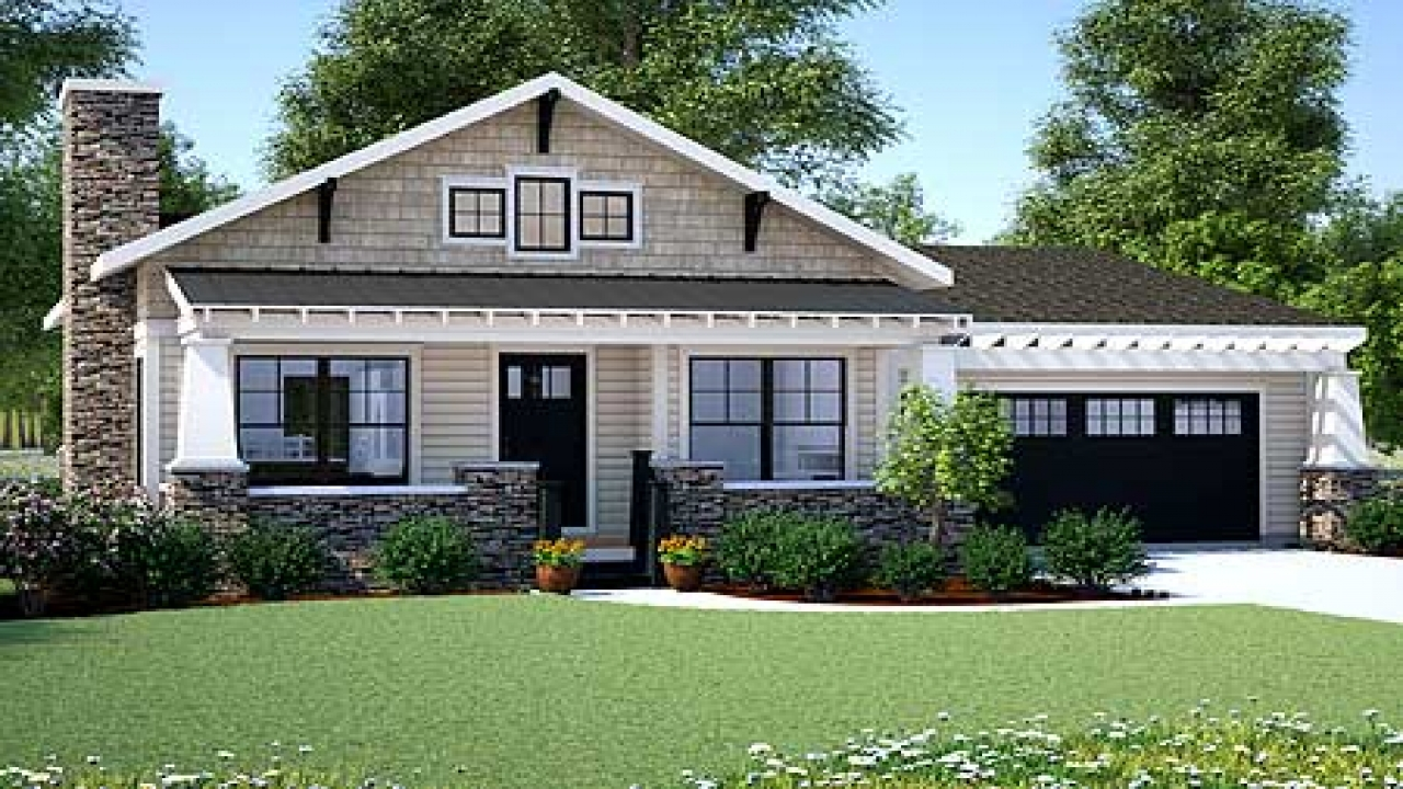 Craftsman bungalow small one story craftsman style house for Craftsman style house plans one story