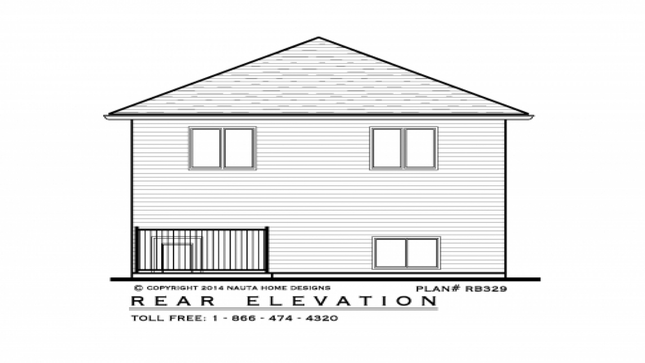 Raised Bungalow House Plan Rb329 Rear Elevation 1930s