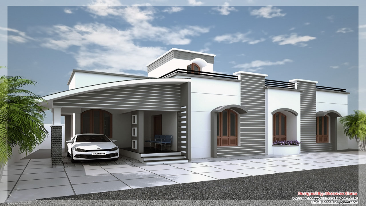 Modern single floor house designs single floor house plans for Large modern house plans