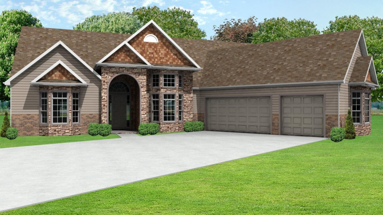 Ranch house plans with 3 car garage ranch house plans with for 3 car garage house plans