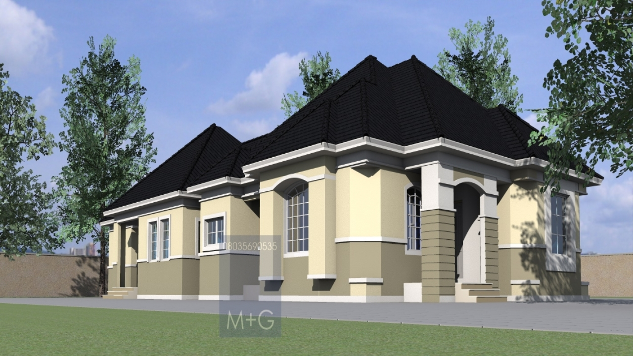 Residential house plans 4 bedrooms 4 bedroom bungalow for Residential home styles