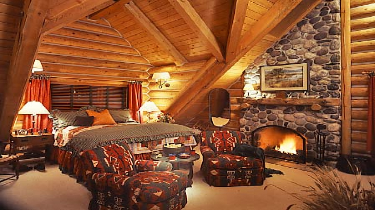 Luxury master bedroom log cabin home french luxury for Log home bedrooms