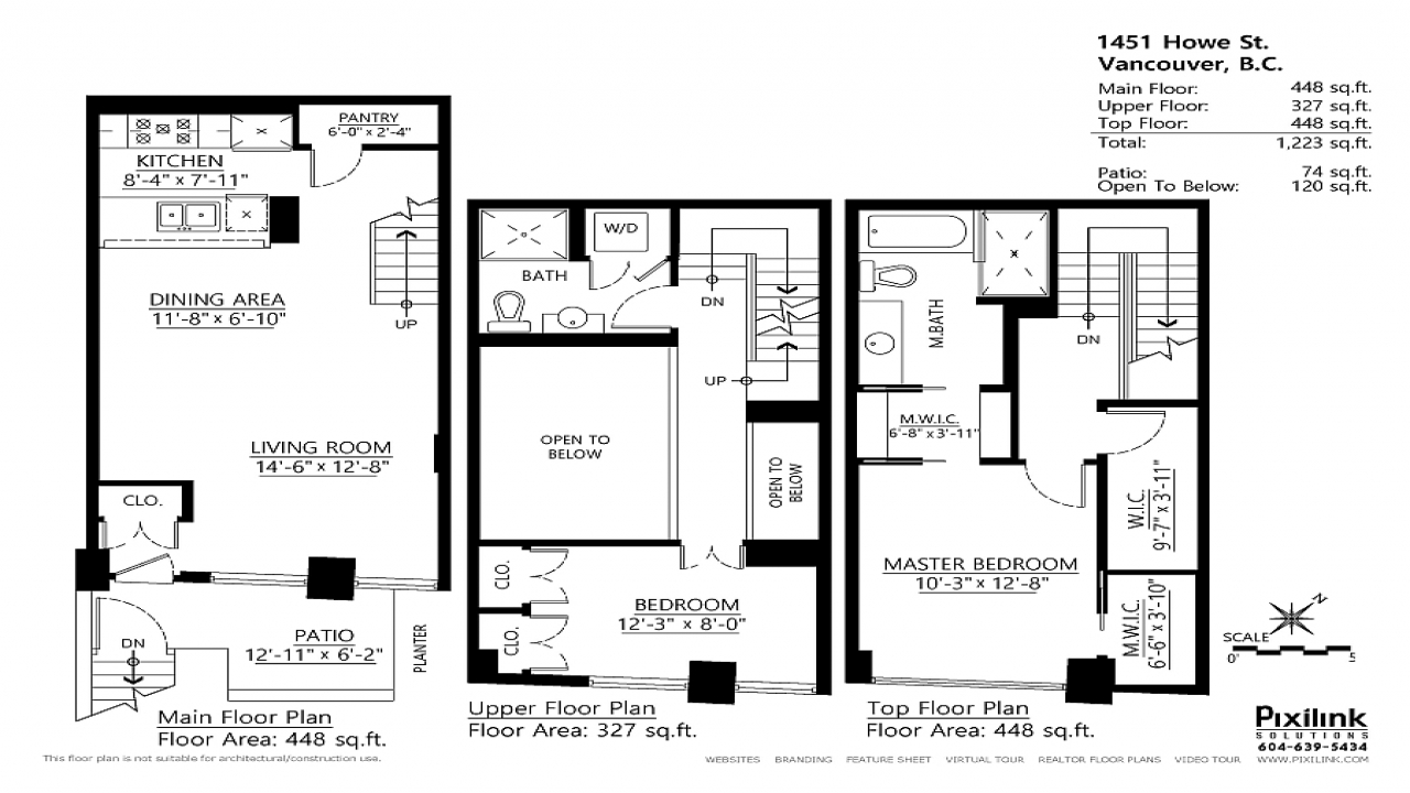 Townhouse floor plans with loft two story townhouse floor for Townhouse designs and floor plans