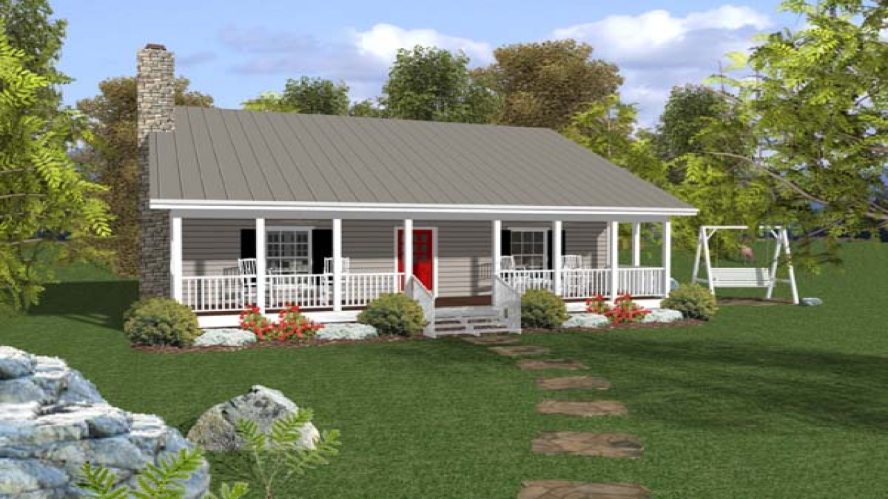 Small ranch house plans with porch open ranch style house for Open house plans with porches