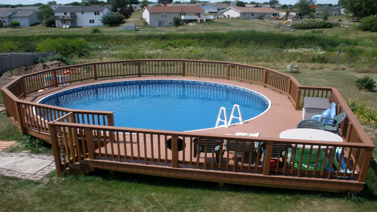 Decks Around Round Above Ground Pools Curved Deck Designs