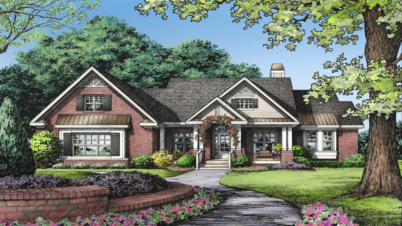 One story brick ranch house plans one story ranch style 1 for Ranch house kits