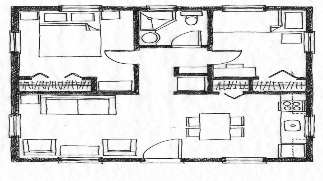 Two bedroom house simple plans small two bedroom house for Small 2 bedroom house plans