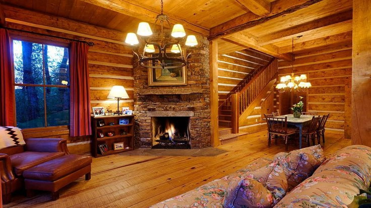 Cozy Fireplace With Log Cabin Interiors Electric Fireplace