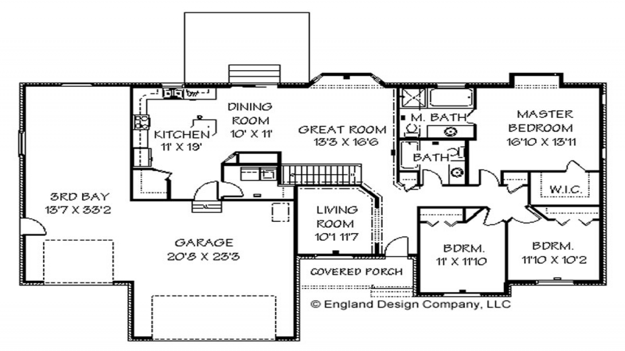 Cape cod house ranch style house floor plans with basement for Large ranch style house plans