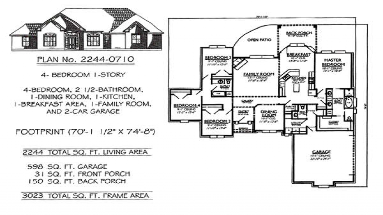 3 Bedroom House Plans 2 Story House Plans With 4 Bedrooms