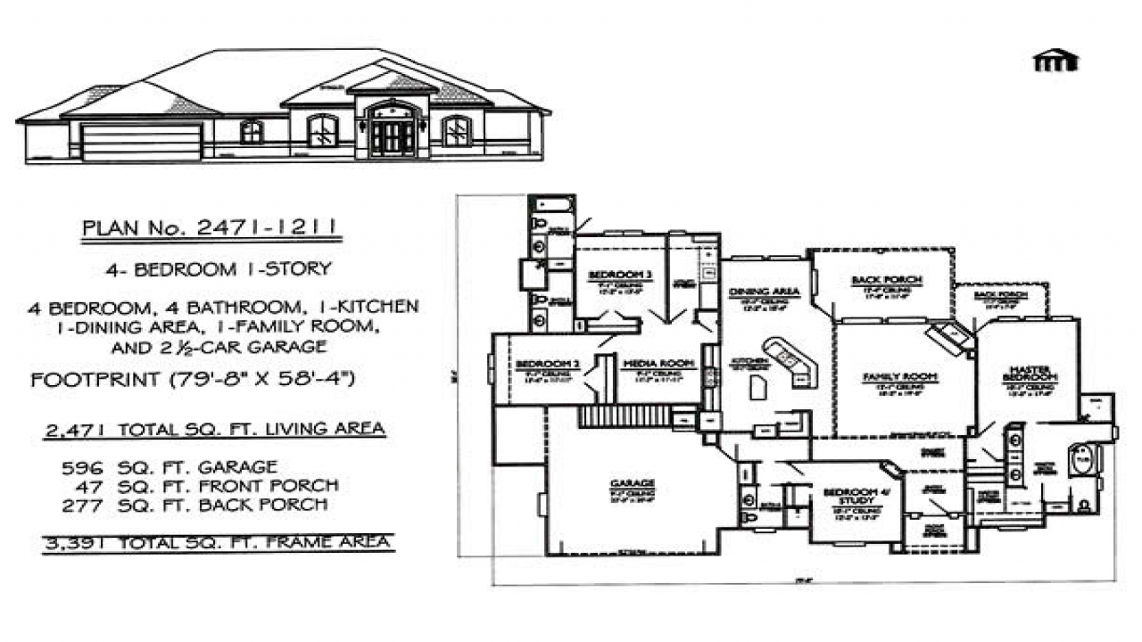 1 Story 4 Bedroom House Plans 4 Bedroom House House Plans
