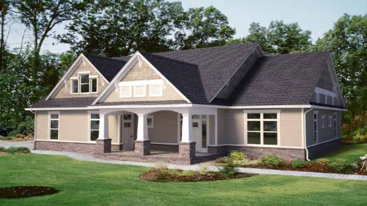 2 story craftsman house 1 story craftsman style house for Craftsman rambler house plans