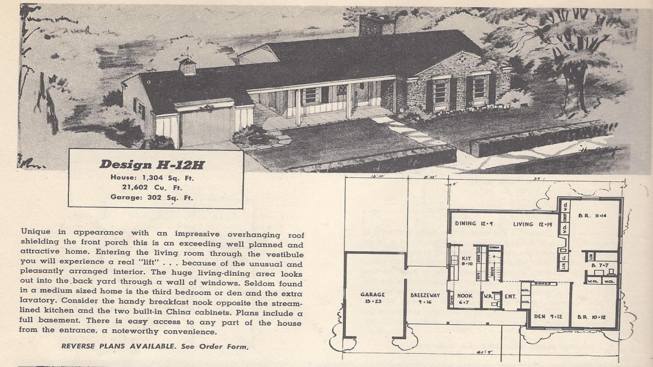 Vintage House Plans 1954 Ranch 1 1 2 Story And Tri Level