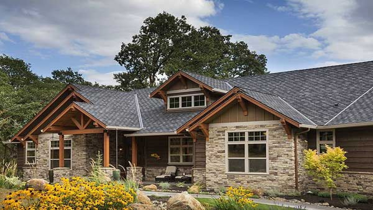 Brick ranch converted to craftsman rustic craftsman ranch for Craftsman log home plans