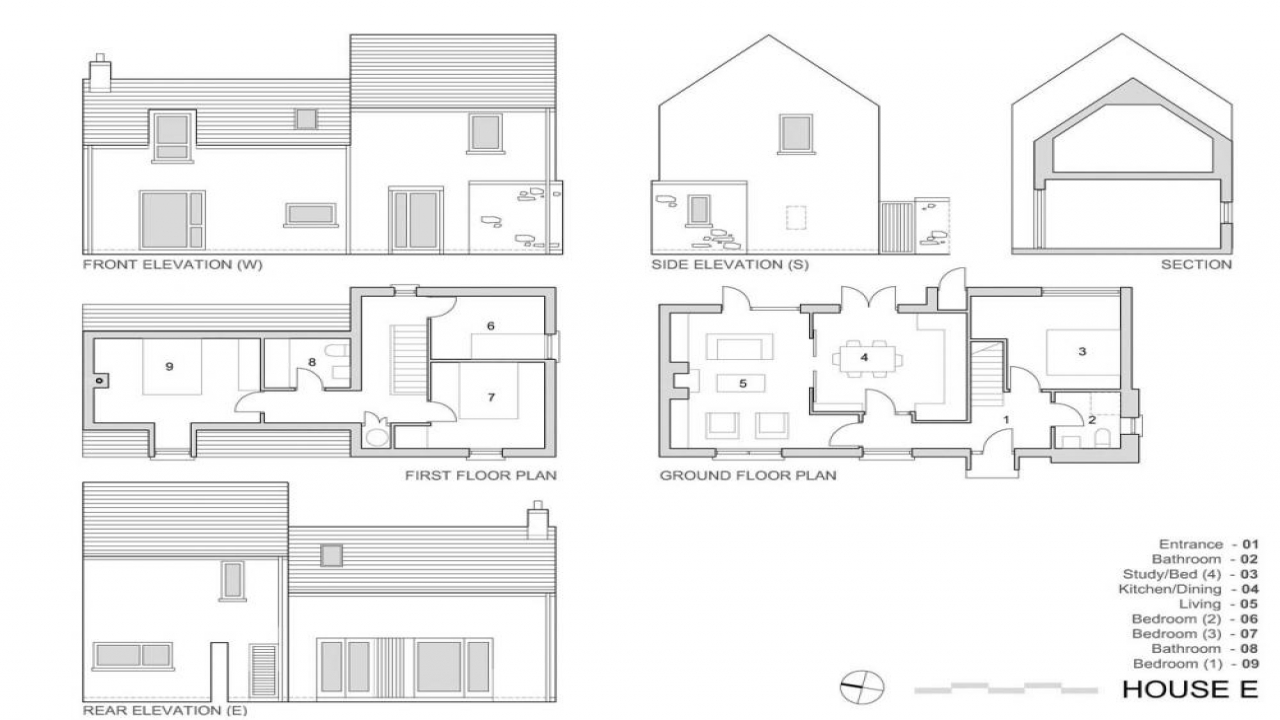 Plan Elevation Perspective View : Elevation view drawing plan village house