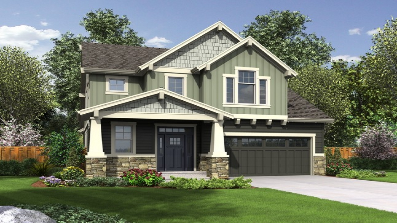 Narrow house plans with front garage beach house plans for Narrow craftsman house plans