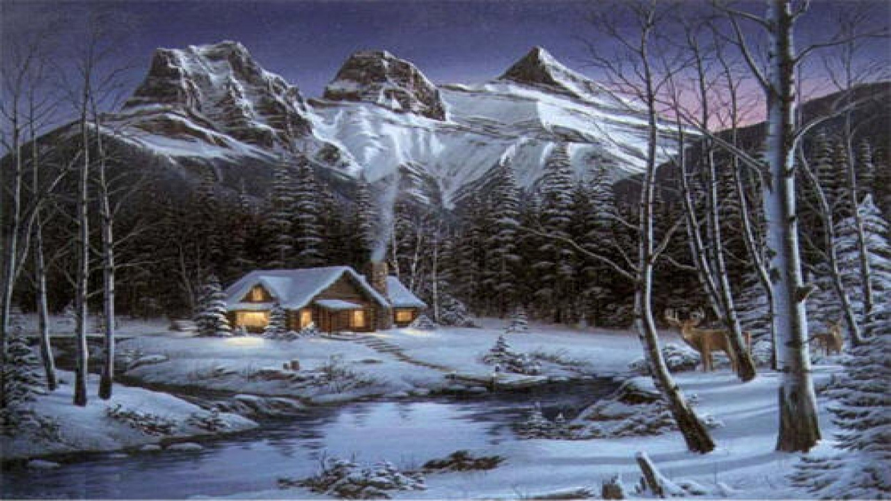 Old Paintings Of Cabins Winter Cabin Paintings Cabin In