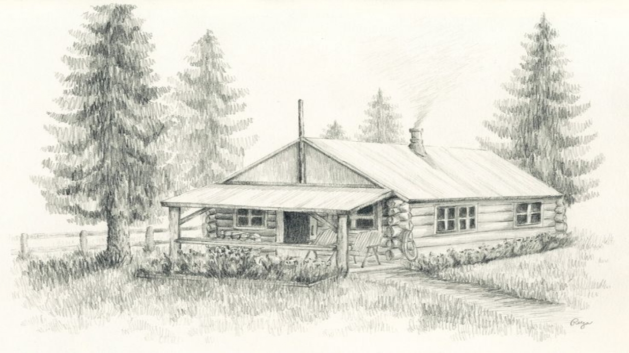 Pencil Sketches Of Old Cabins Log Cabin Pencil Drawing