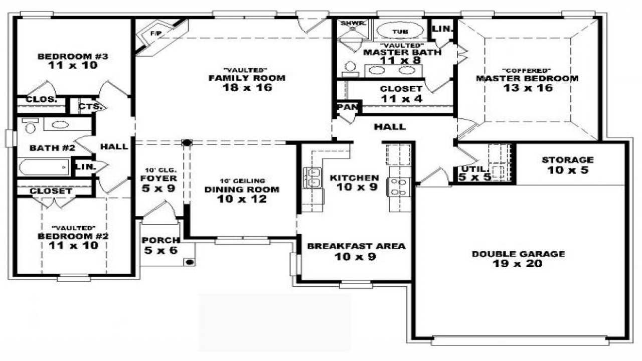 4 Bedroom House Floor Plans: 4 Bedroom One Story House Plans Residential House Plans 4