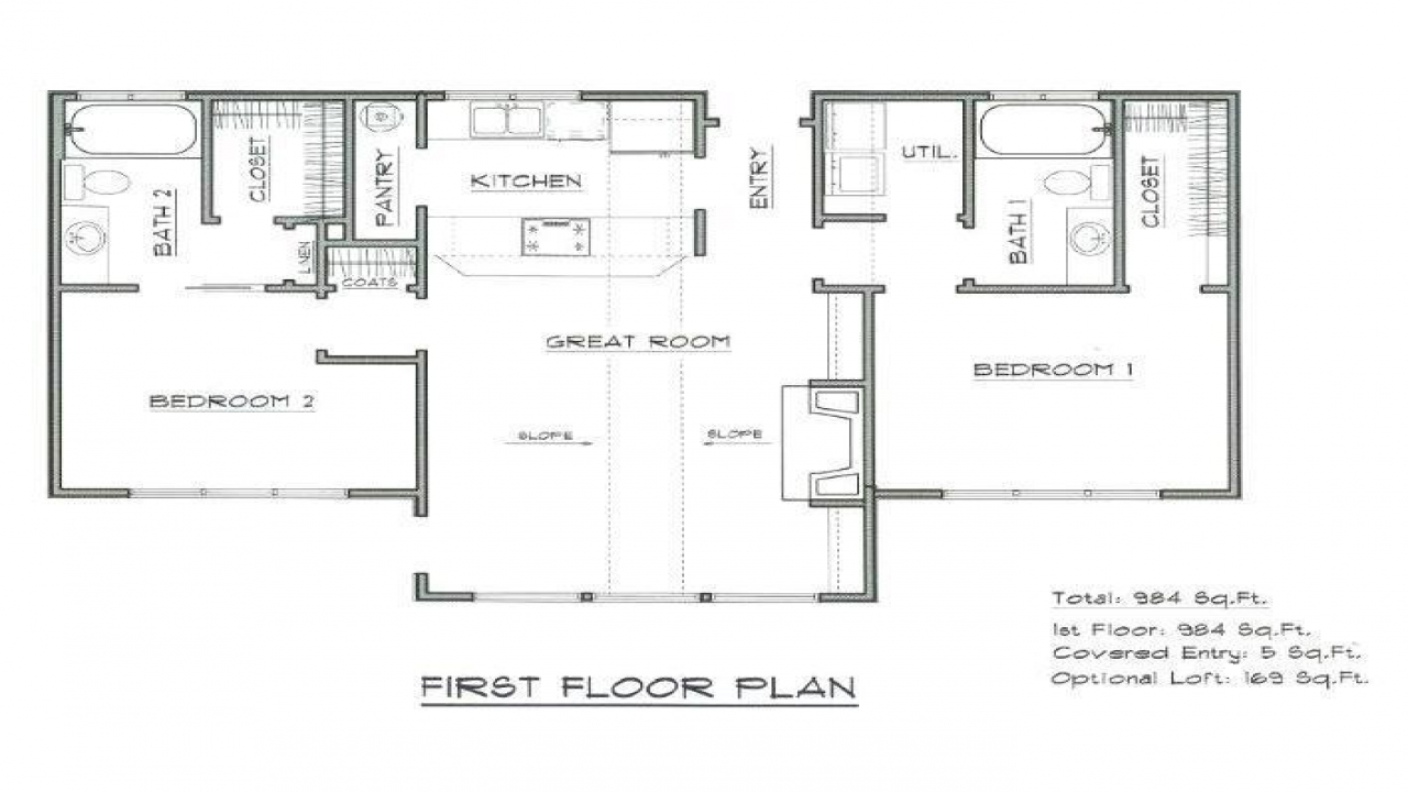 Mountain cabin plans vacation cabin house plan home for Mountain lodge floor plans