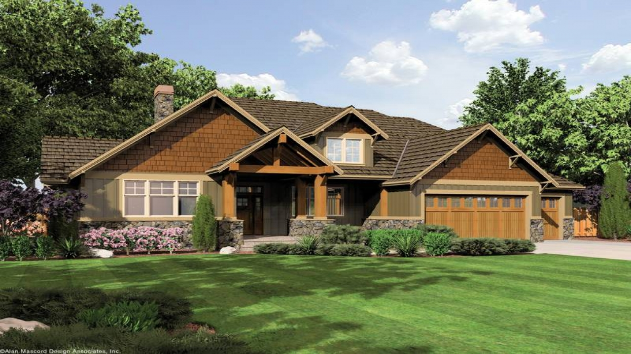 Single story craftsman style house plans single story for Prairie home designs