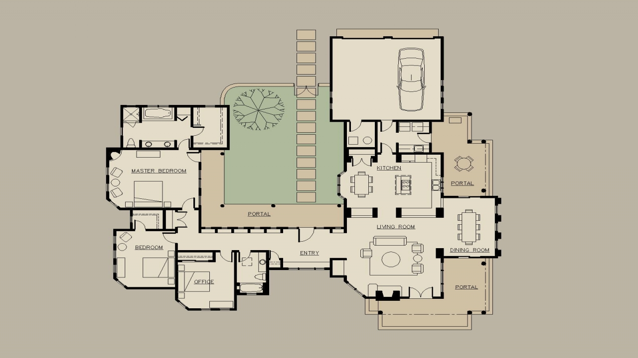 Spanish style house plans hacienda style house plans with for Spanish style ranch house plans