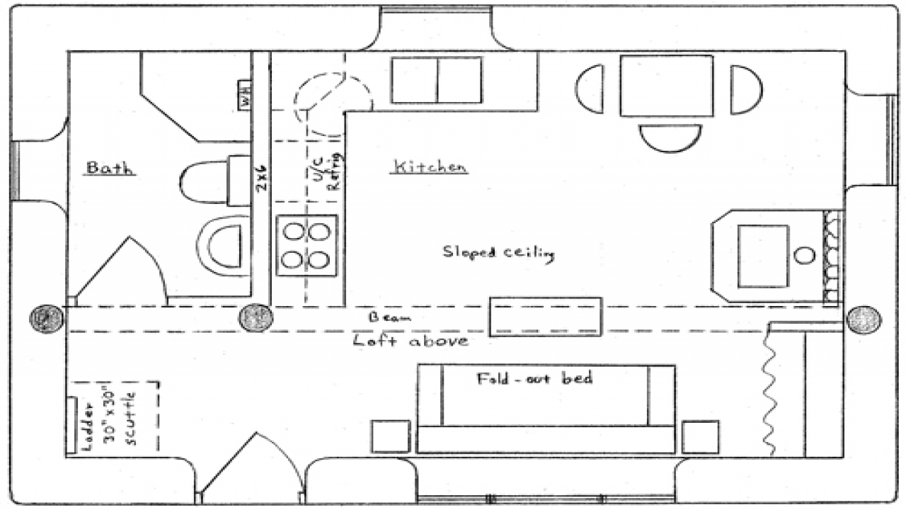 Cabin floor plans with loft hunting cabin floor plans with for Simple cabin plans with loft