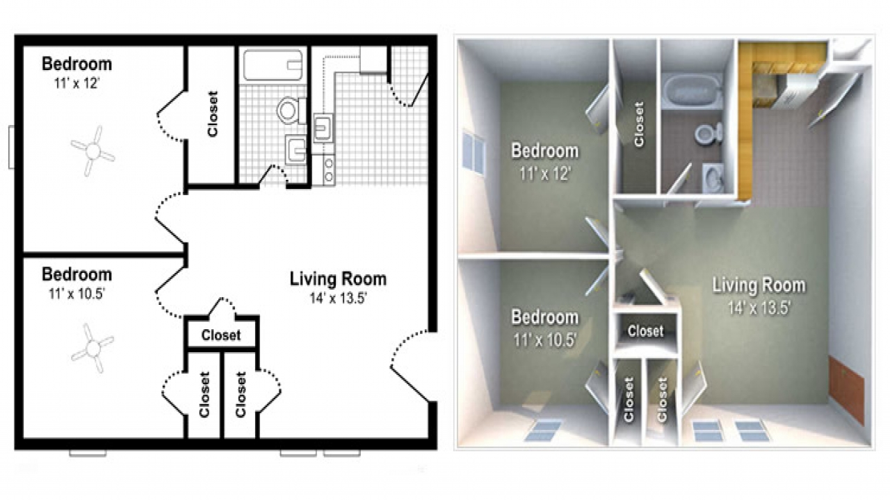 3d apartment floor plans top view tiny apartment floor for Rental property floor plans