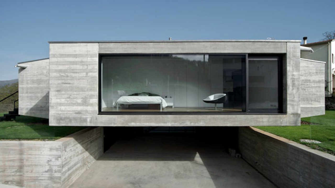 Minimalist concrete house design concrete block house for Minimalist ranch house