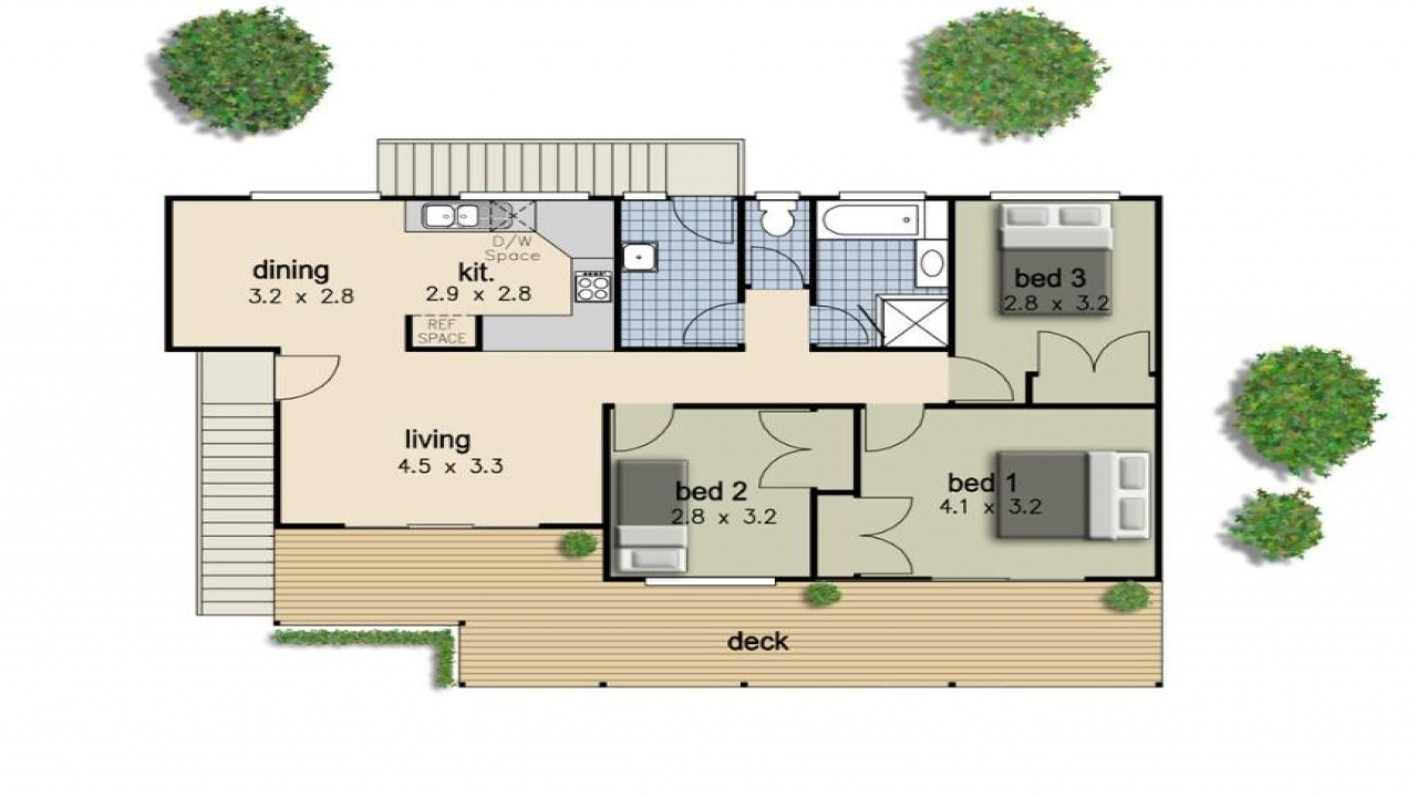 Simple 3 bedroom house floor plans 4 bedroom house beach for Simple house plan with 4 bedrooms