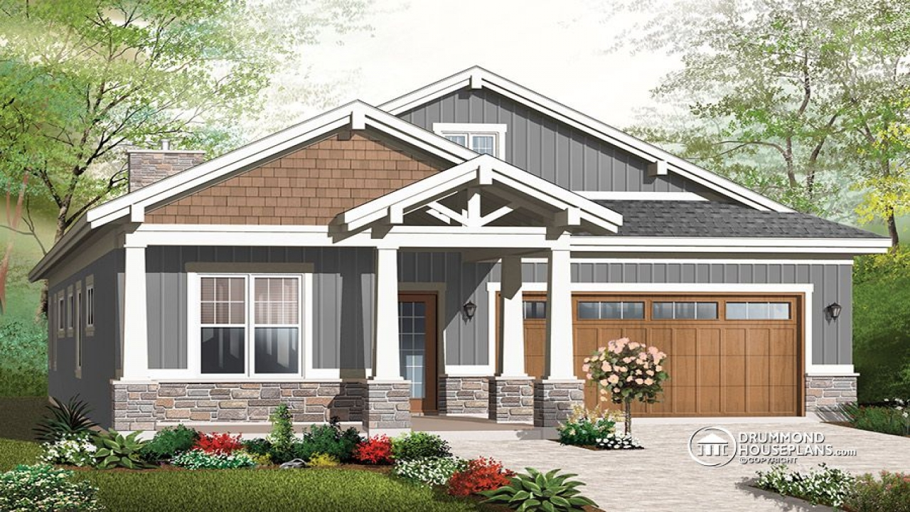 Single story craftsman house plans craftsman house plans for House design with garage