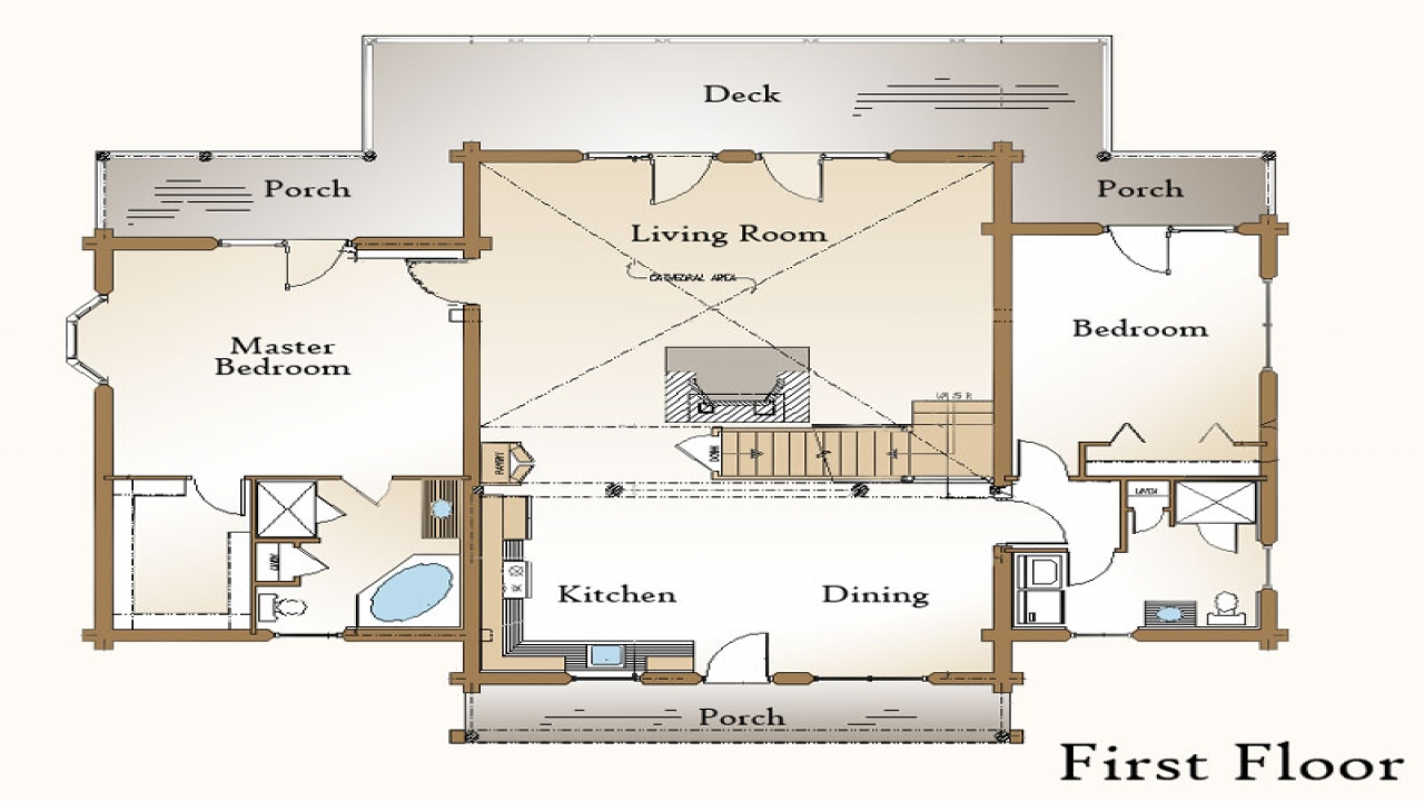 Log home plans with open floor plans log house plans with for Open house plans with porches