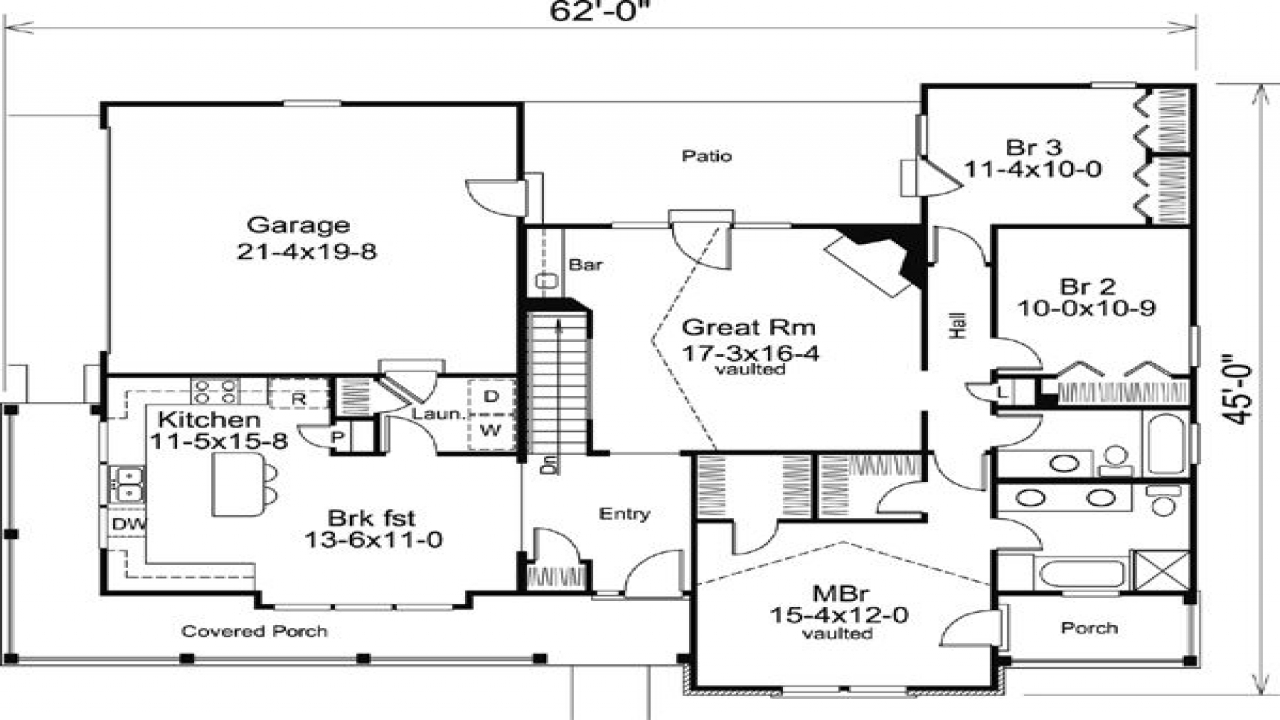 Craftsman bungalow ranch house floor plans addition ranch for Ranch bungalow plans