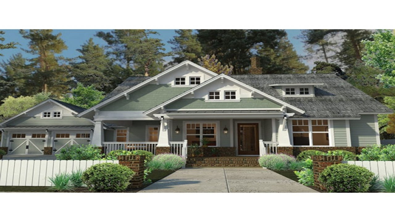 Craftsman style house plans with porches craftsman for Single story craftsman bungalow house plans