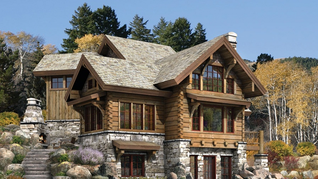 Stone and log cabins luxury log and stone home plans for Log and stone homes