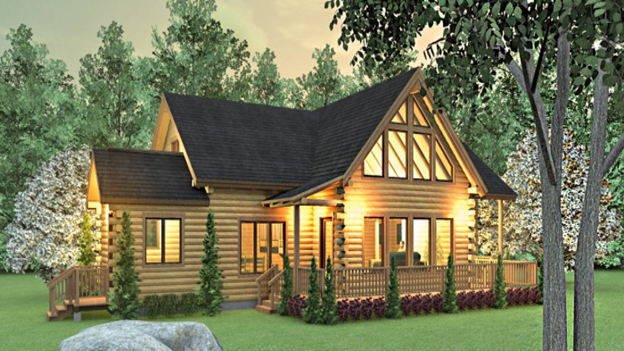 Modern log cabin homes floor plans ranch style log cabin for Log cabin style house