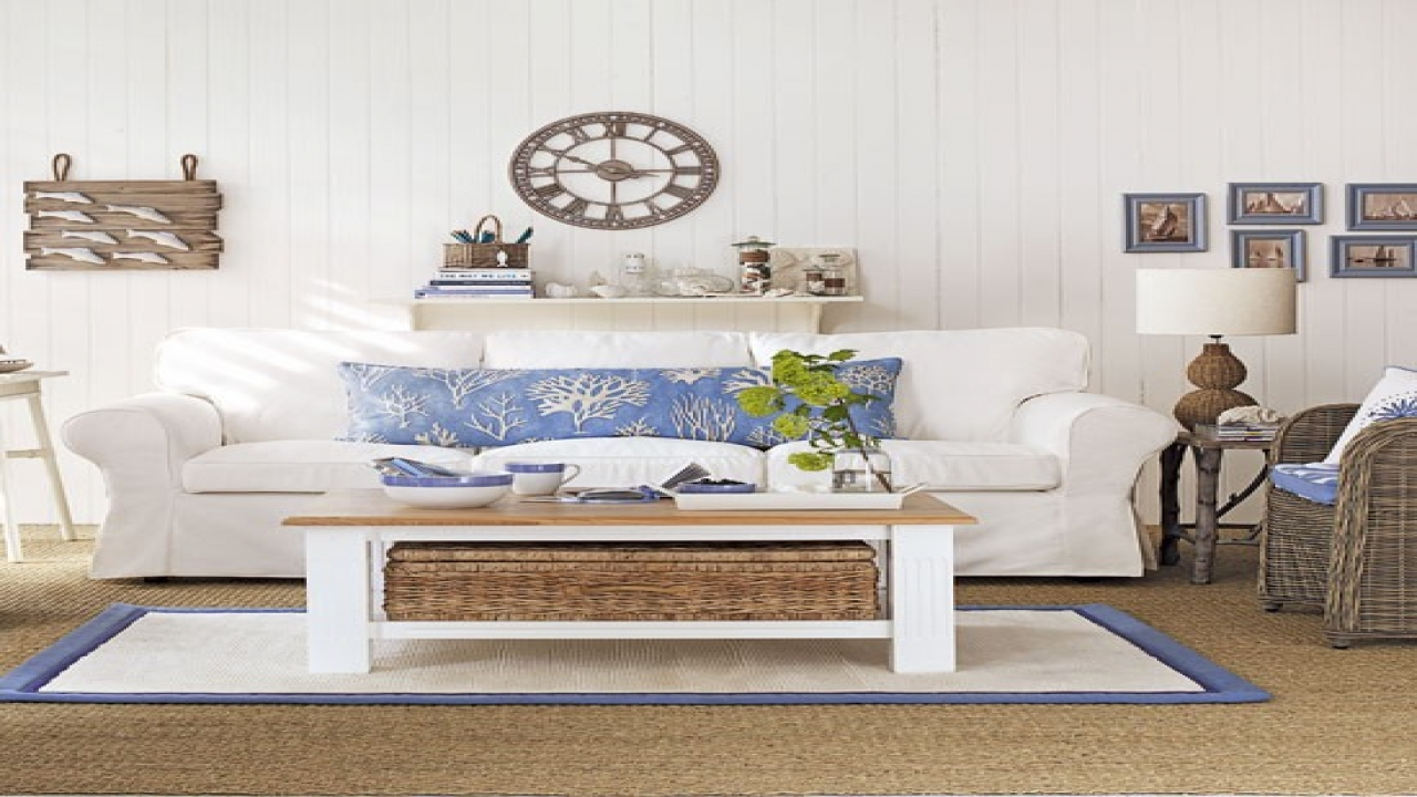 Coastal living beach house style coastal living room decor for B m living room accessories