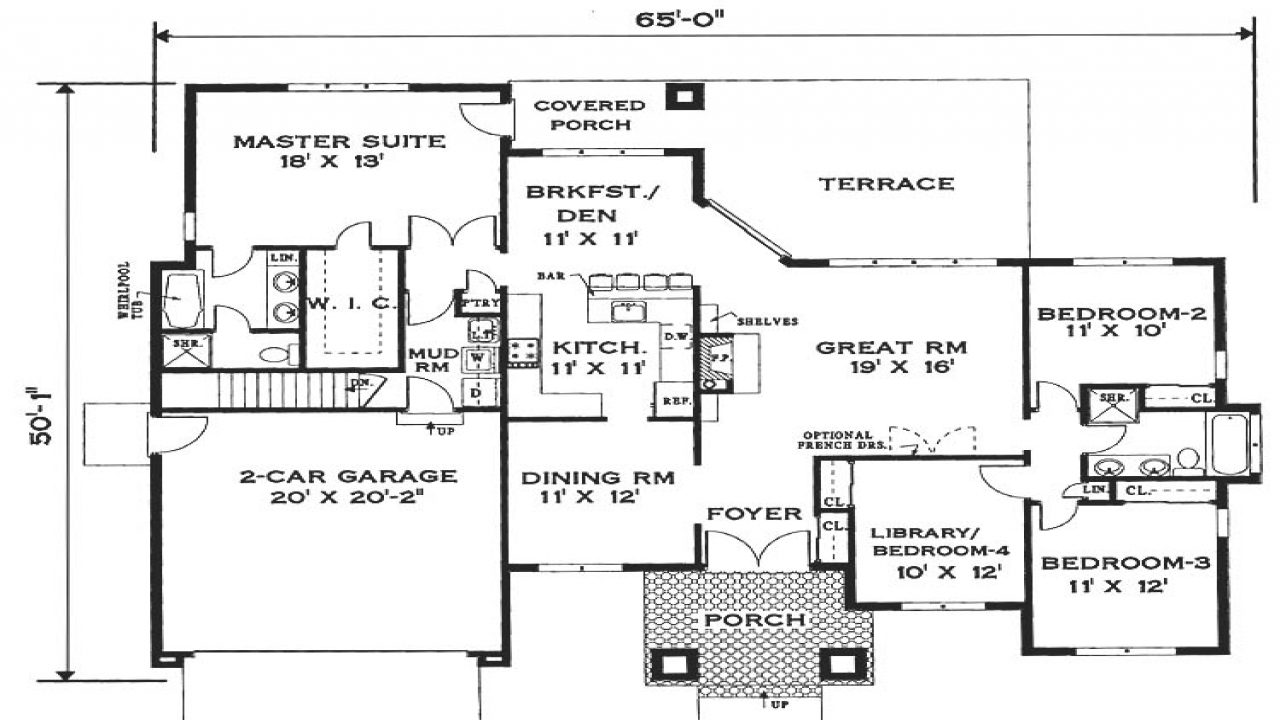 Simple One Story House Floor Plans Open One Story House