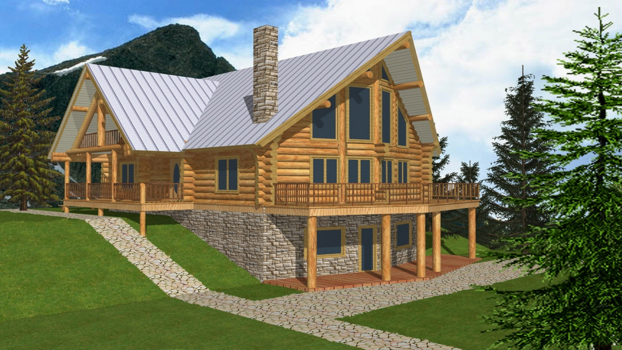 Log cabin house plans with open floor plan log cabin home for A frame house plans with basement