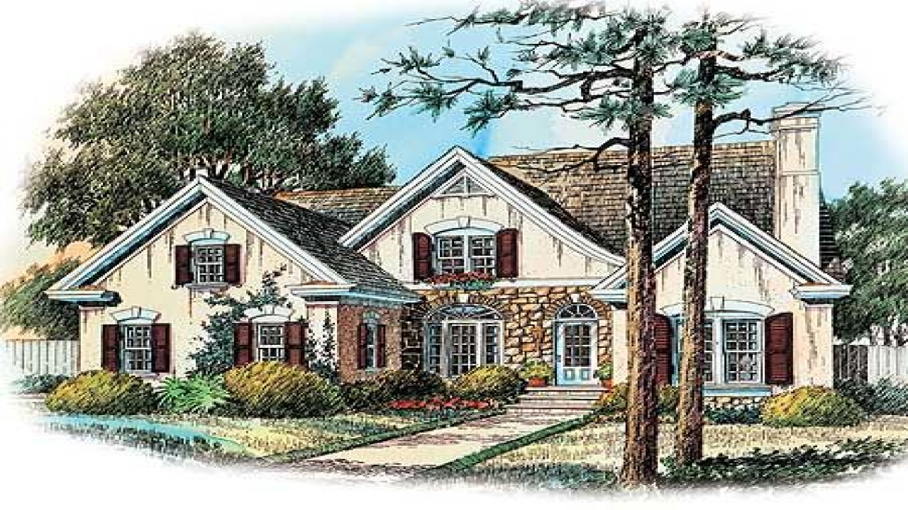 French country house plans country house plans with for Single roof line house plans