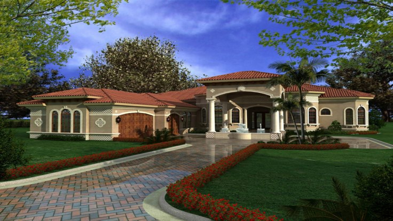One story mediterranean house plans mediterranean houses for Mediterranean house floor plans