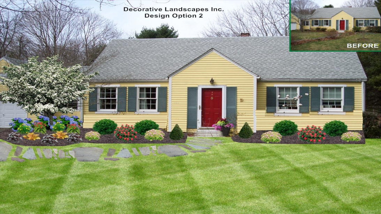 Front Yard Filled Tree Ranch Home Front Yard Landscaping ...