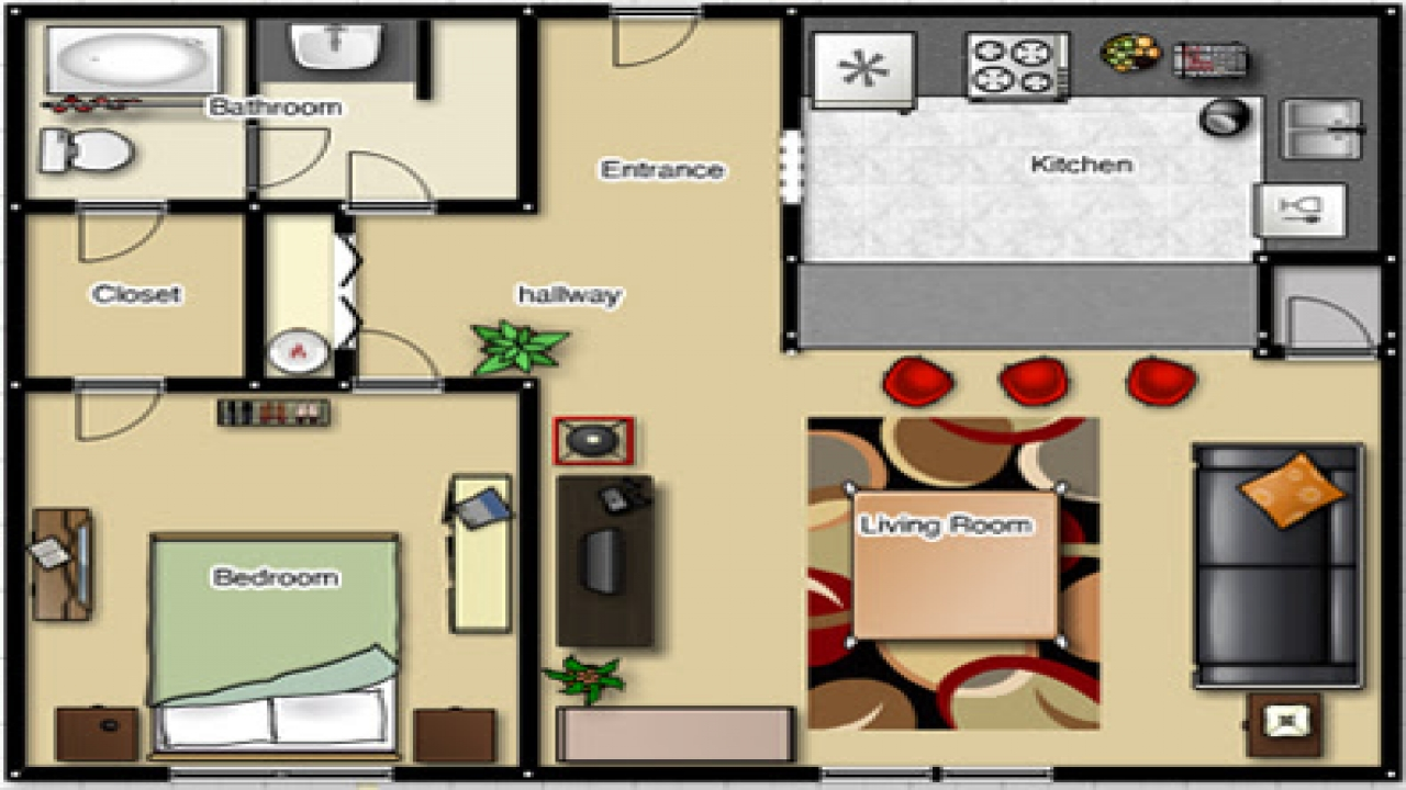 Efficiency Apartment Floor Plan One Bedroom Apartment Floor Plan 1 Bedroom Efficiency