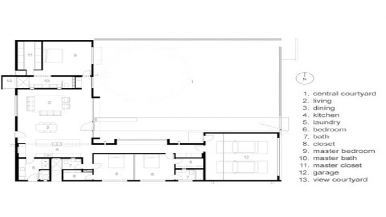 Modern courtyard house plans mexican style courtyard house for Mexican style house plans