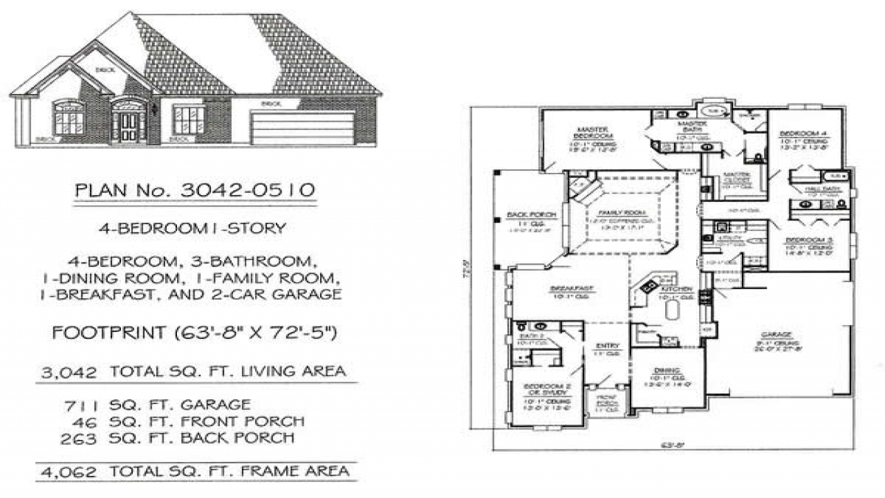 Custom 3 bedroom house floor plans 3 bedroom house with for Custom one story home plans